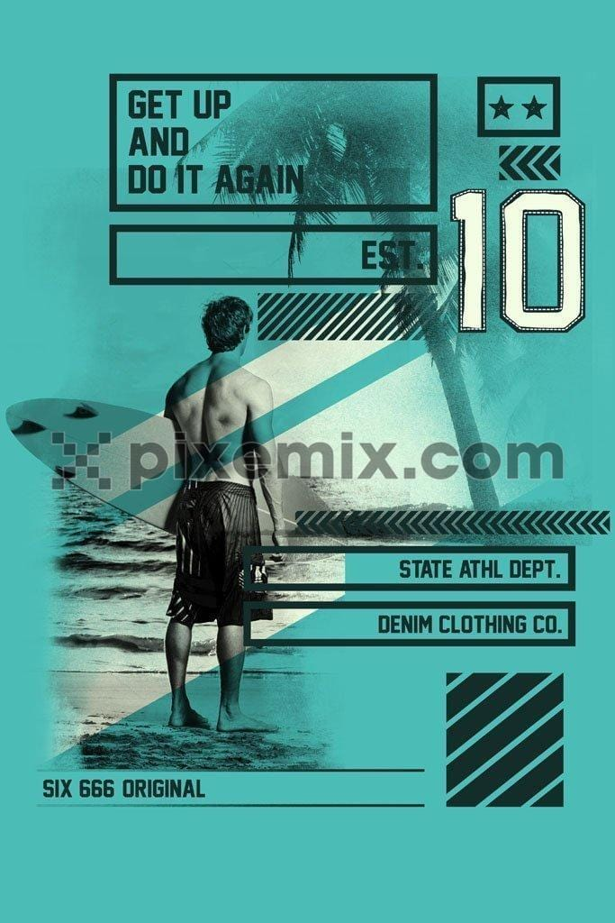 Motivational surfing product graphic