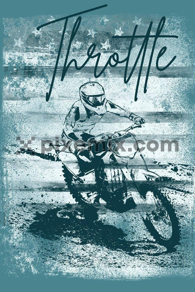 Off road racer motorbiking product graphic with distress effect