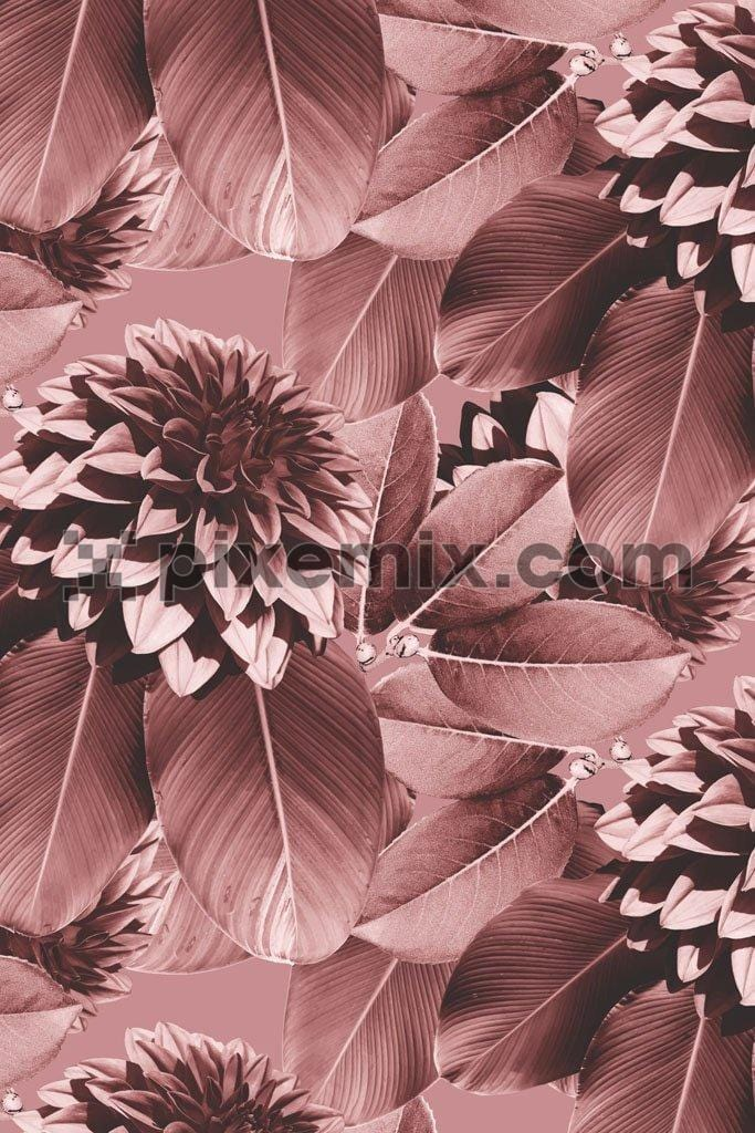 Monochrome floral & leaves pattern vector product graphic