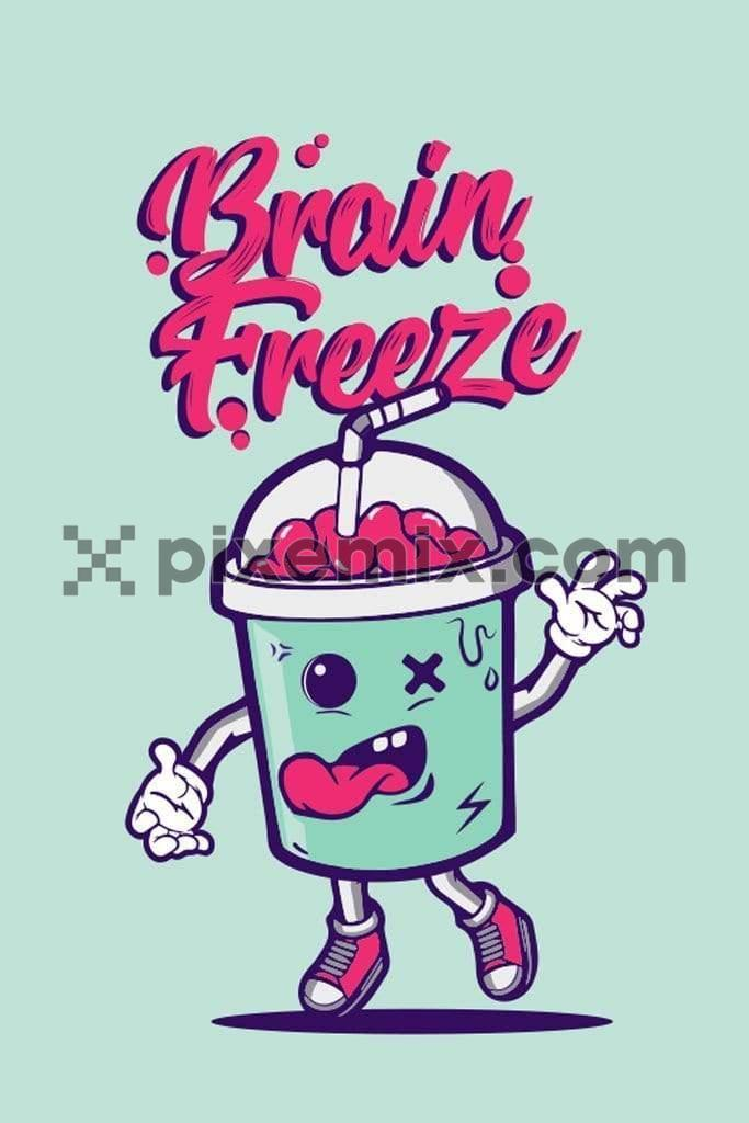 Quirky funny brain shake vector product graphic