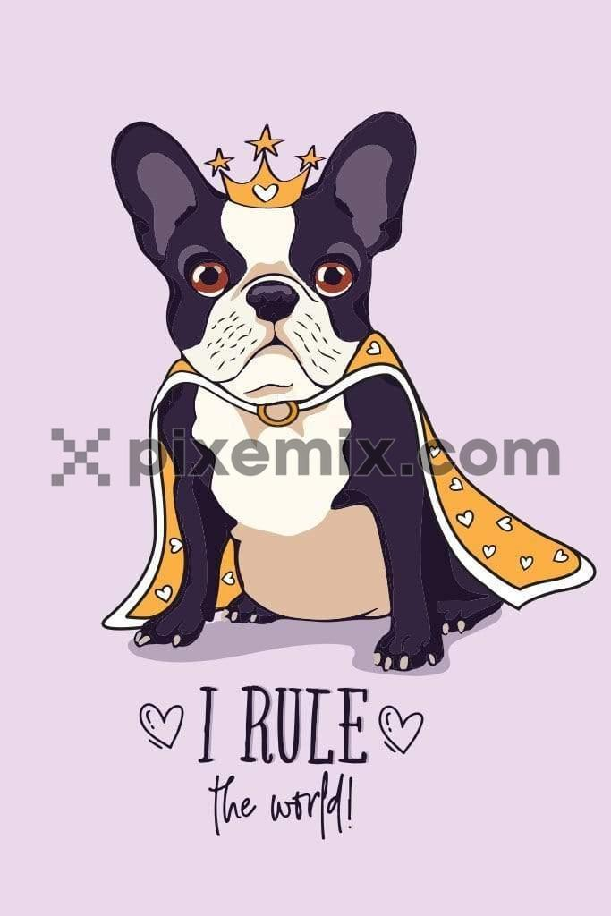 Cute cartoon royal dog vector product graphic