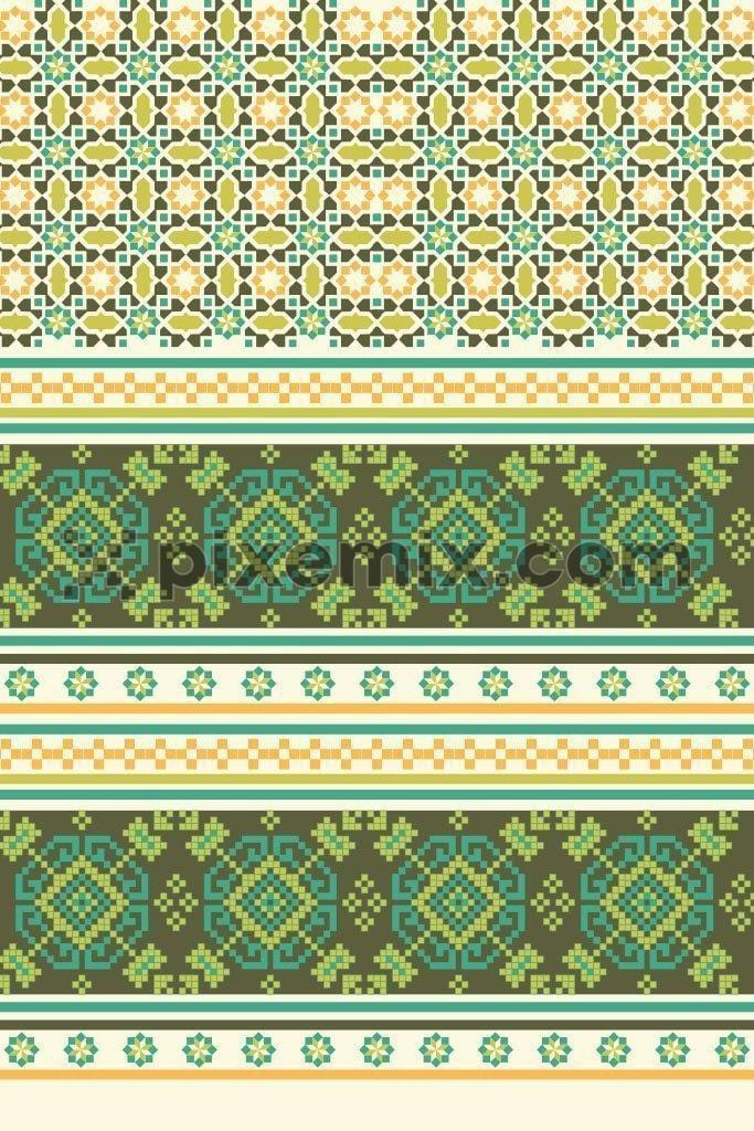 Tile indian motif pattern product graphic with border