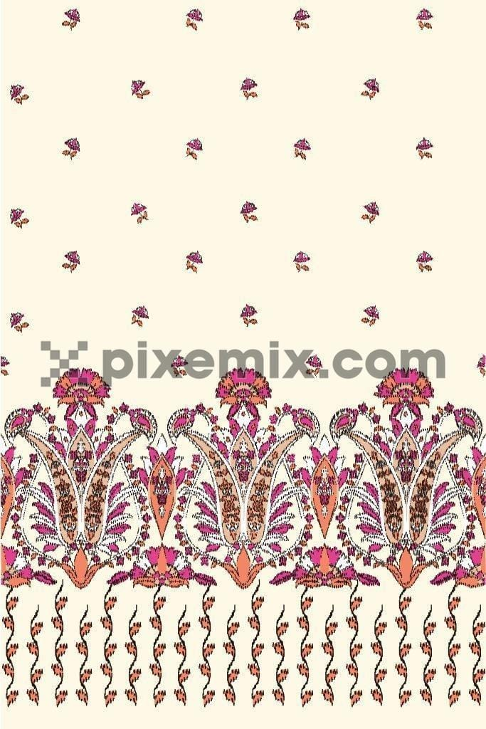 Indian dotted motif with border product graphic