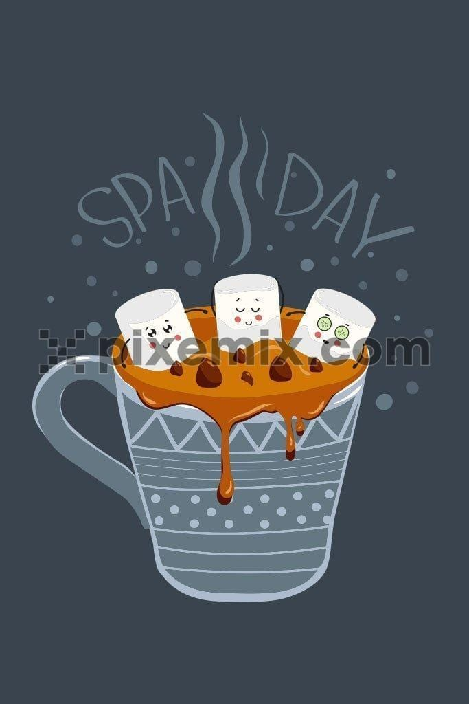 Cartoon marshmallow spa day quirky product vector graphic