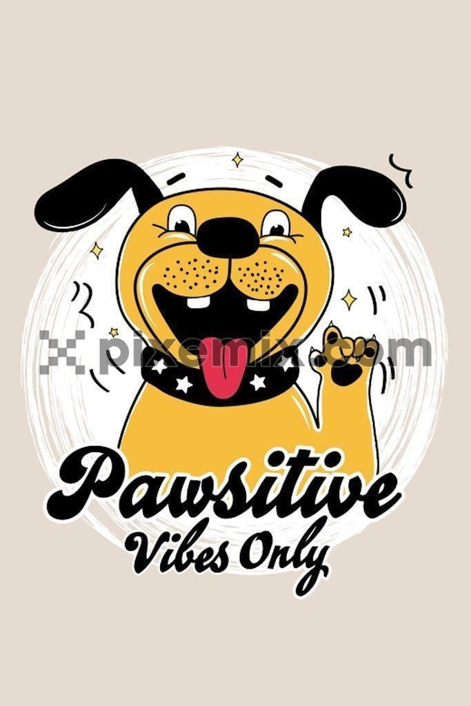 Happy cartoon dog quirky vector product graphic