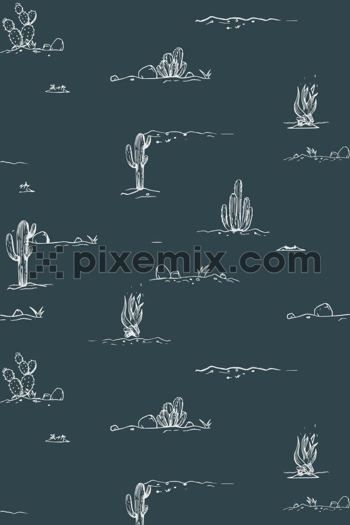 Doodled cactus pattern vector product graphic