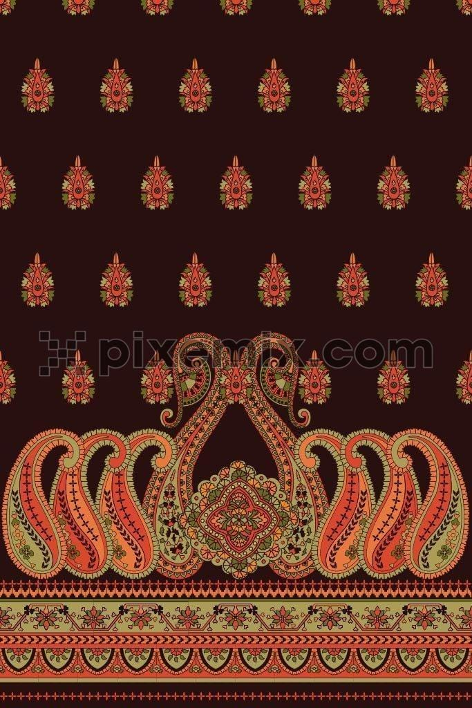 Placement paisley pattern product graphic with border