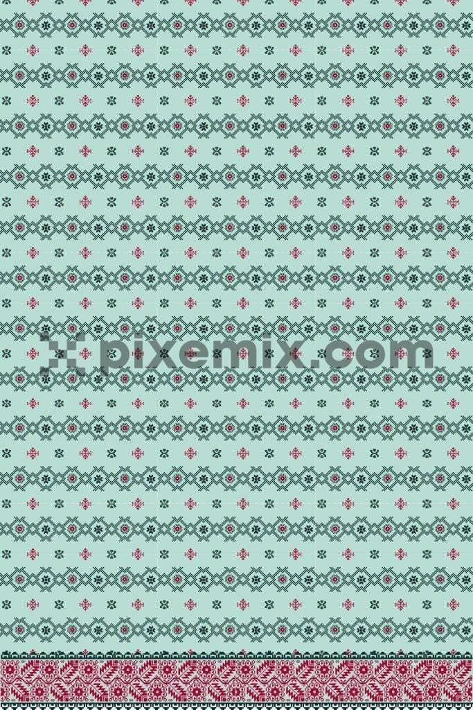 Tiny geometric floral pattern product graphic with border