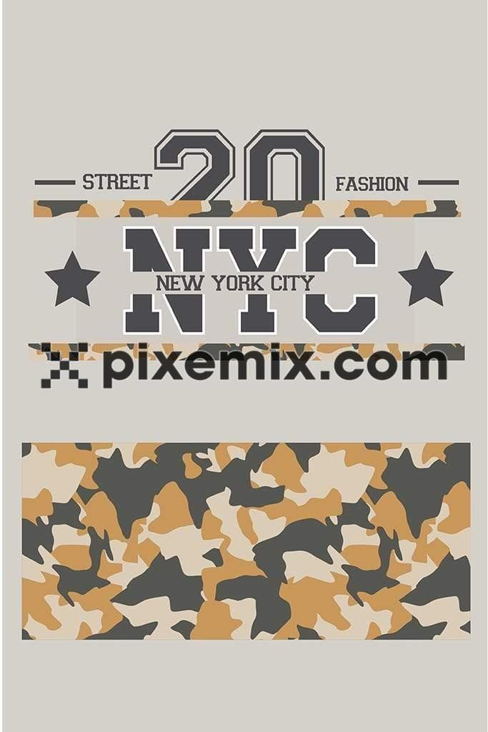 Athleisure street fashion NYC camouflage vector product graphic