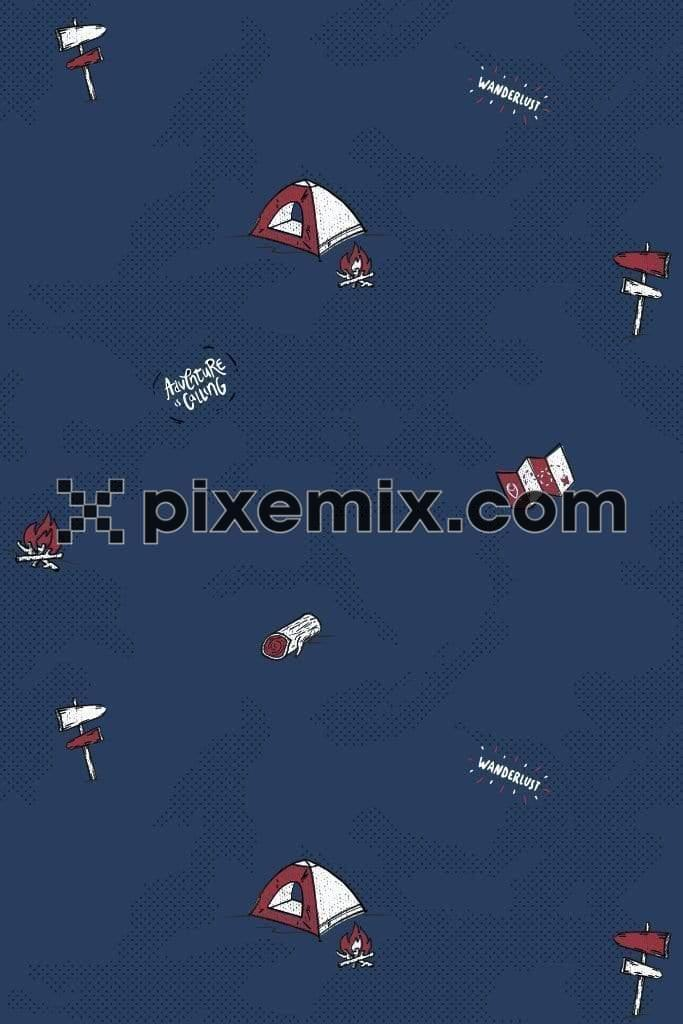 Adventure camping inspired quirky vector pattern product graphic with distress effect