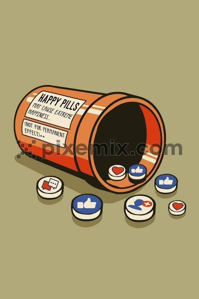 Emoji happy pills vector product graphic