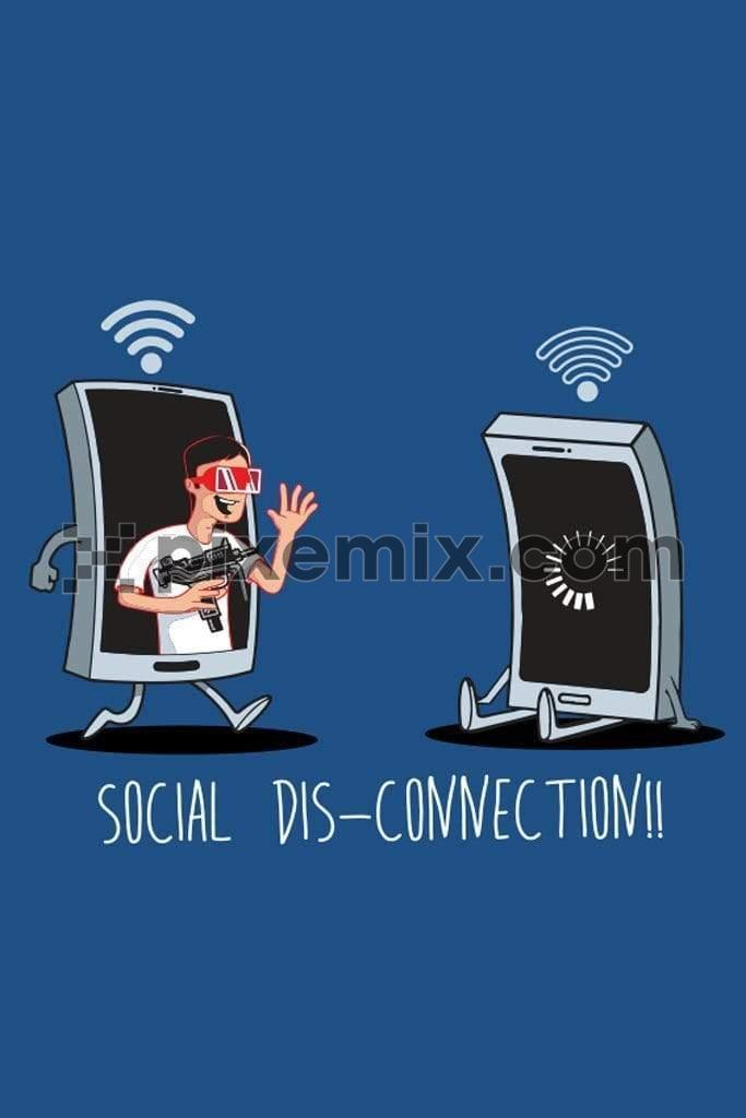 Covid inspired social disconnection quirky vector product graphic
