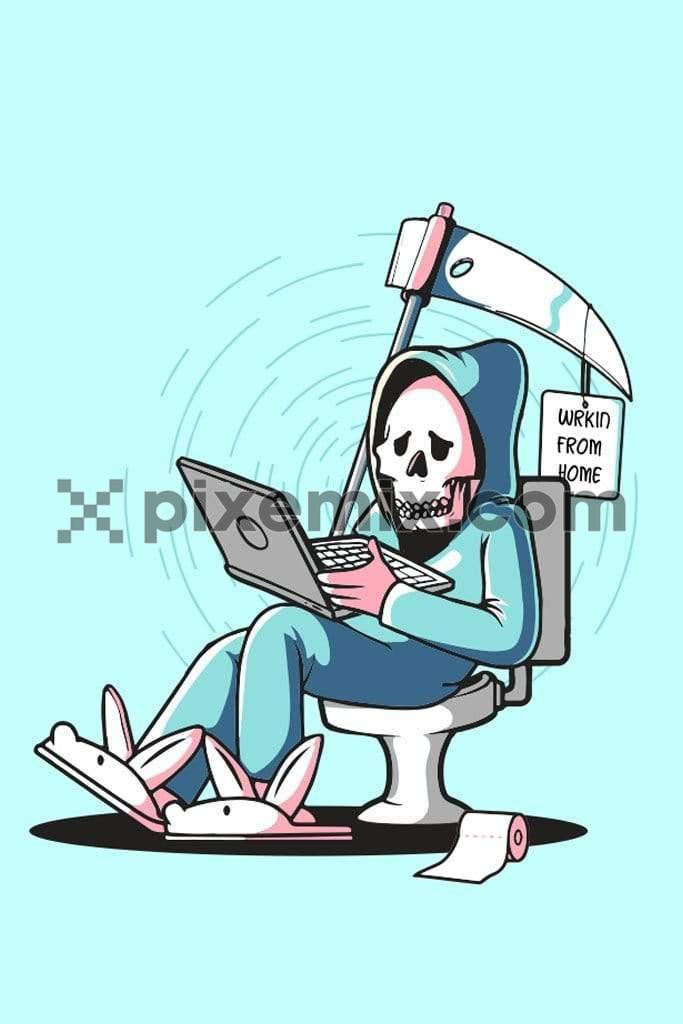 Cartoon grim reaper working from home quirky vector product graphic