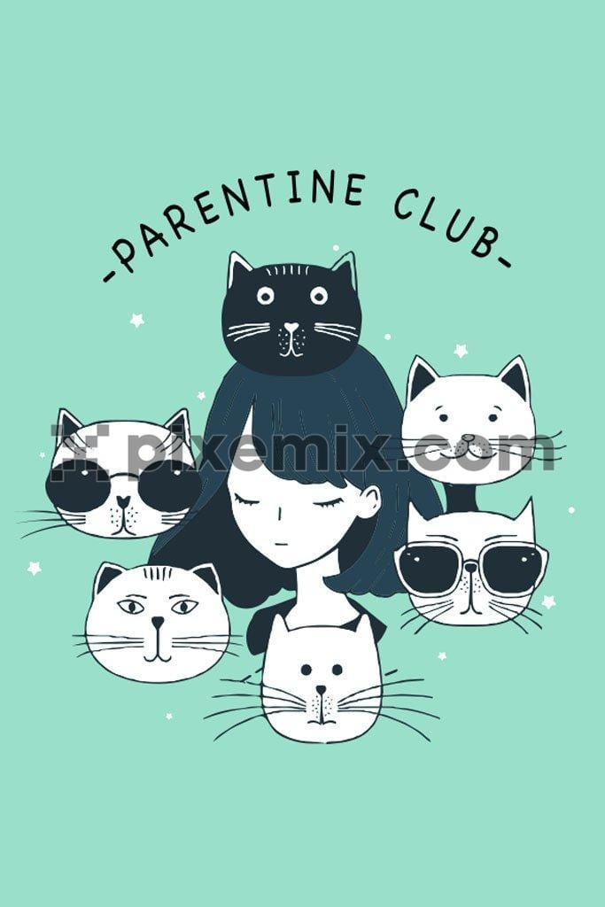 Parentine cat club vector product graphic