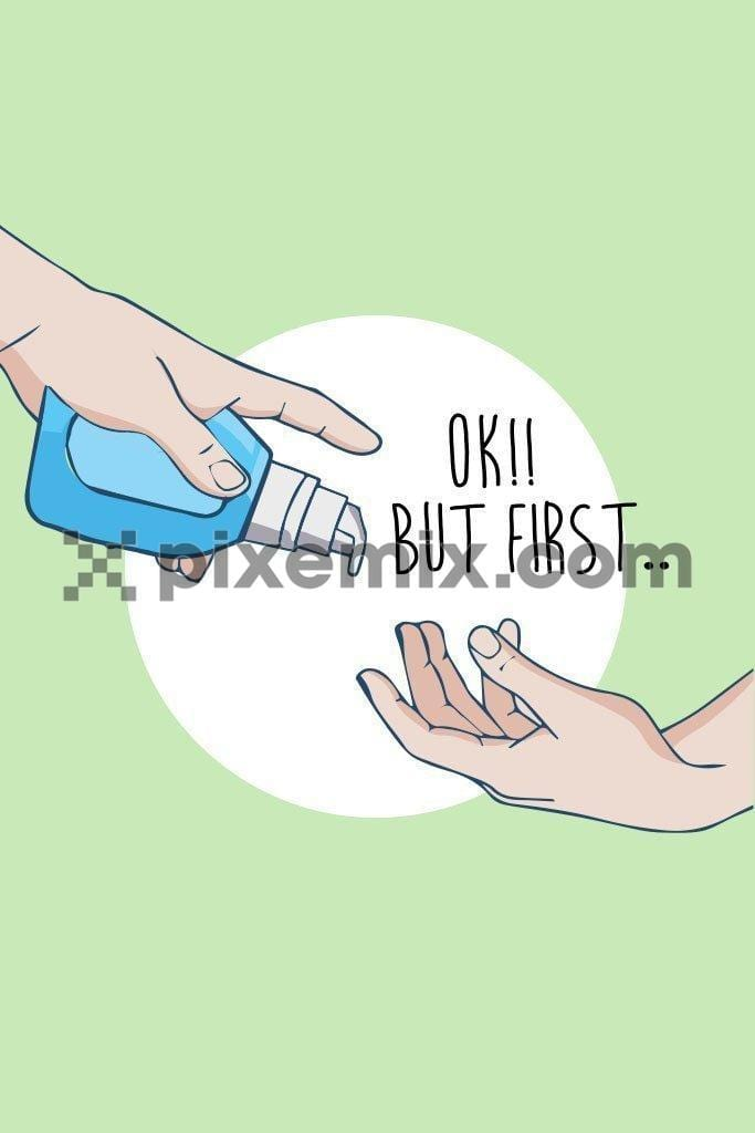 Covid hand sanitizer awareness quirky vector product graphic