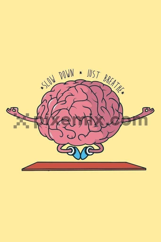 Cartoon brain meditation vector product graphic