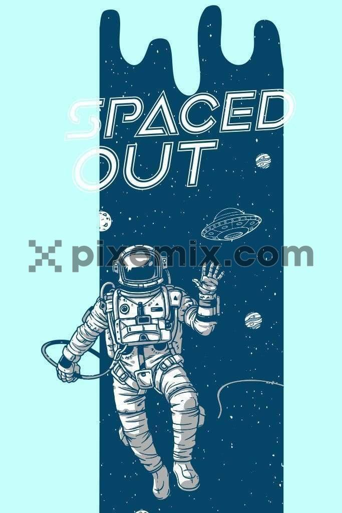 Astronaut exploring space placement vector product graphic