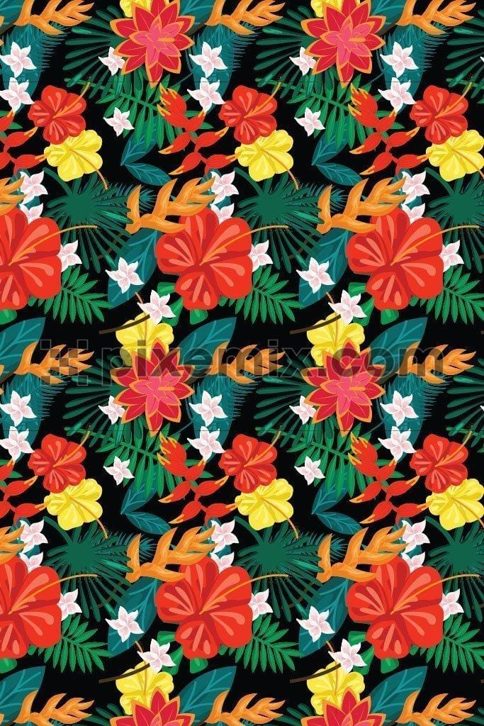 Tropical colorful floral pattern vector product graphic