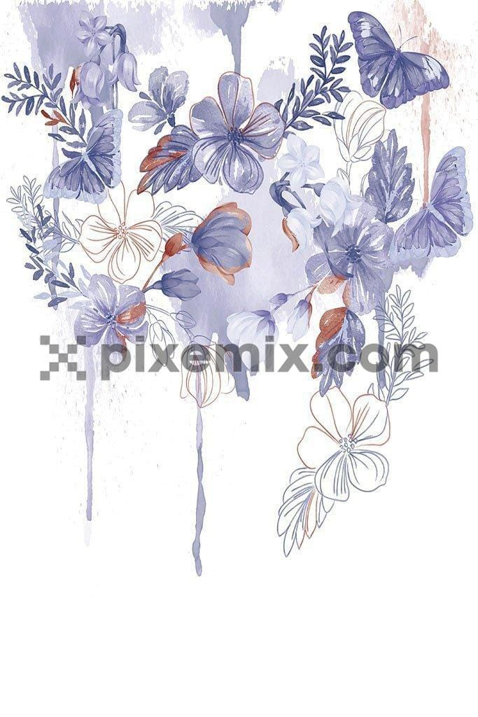 Water color placement floral product vector graphic