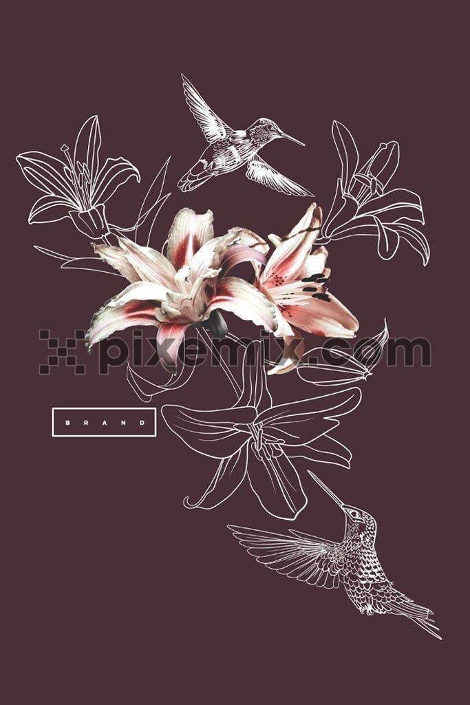 Tiger lily floral line art vector product graphic with humming bird