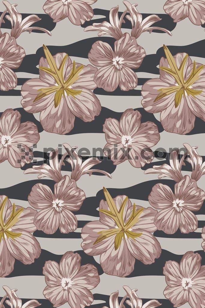 Monochrome camo floral vector pattern product graphic