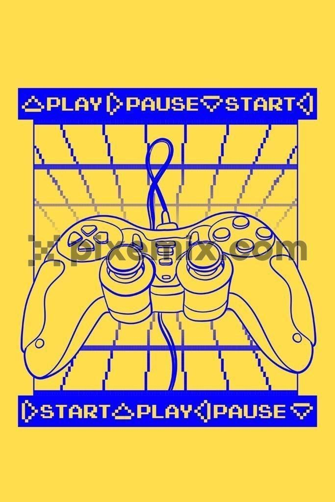 Joystick play pause start vector line art product graphic