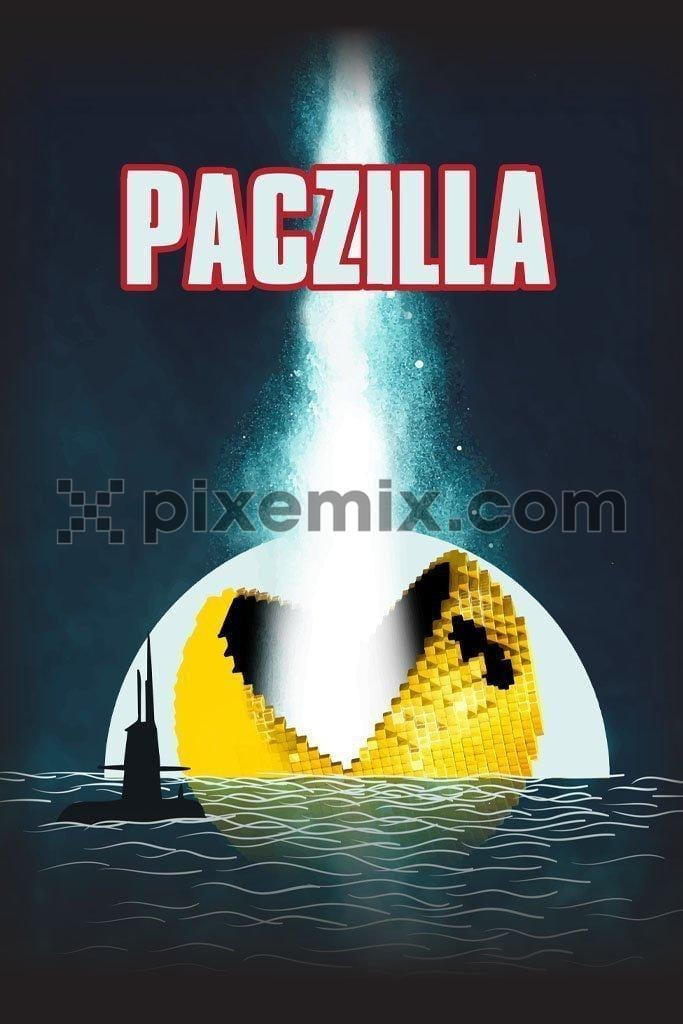 Paczilla video game placement vector product graphic