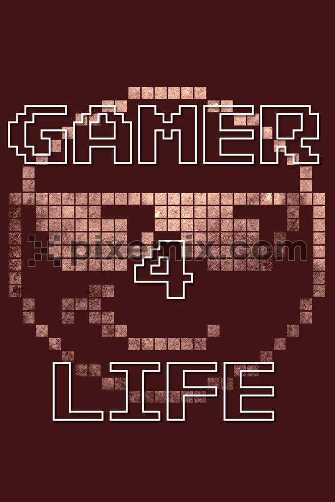 Copper pixels gamer vector product graphic