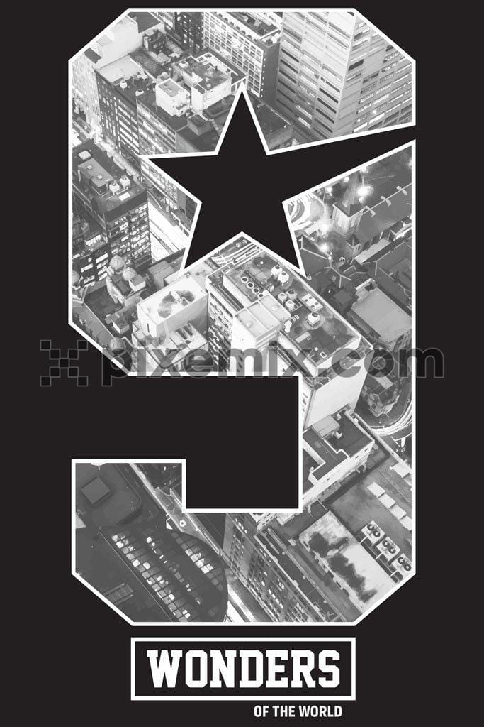 City double exposure number monochrome vector product graphic
