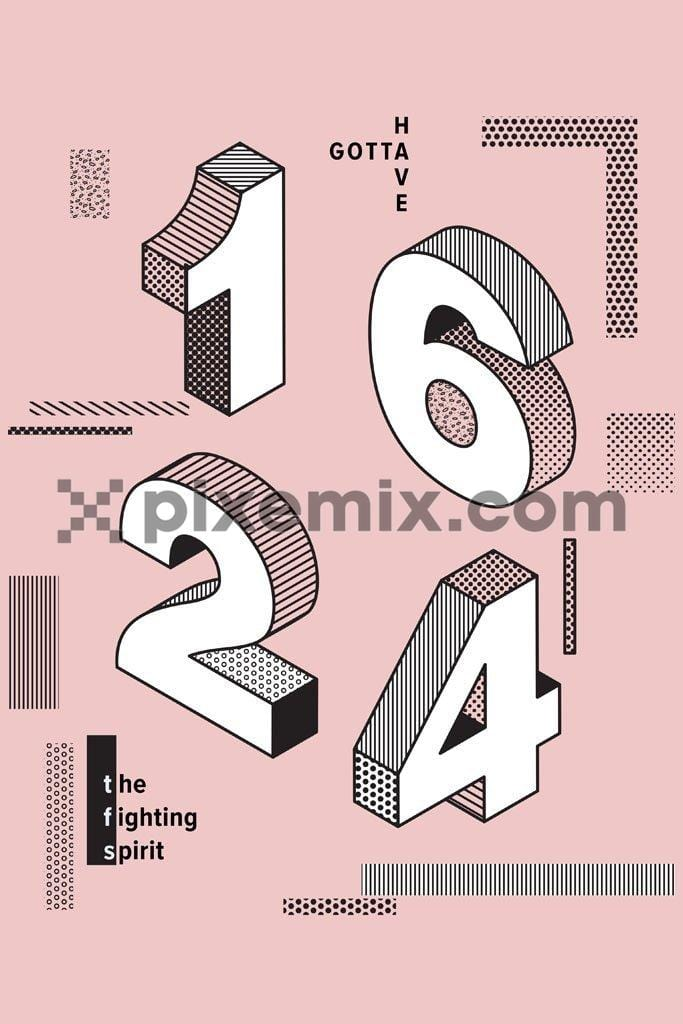 Athleisure 3D number vector product graphic