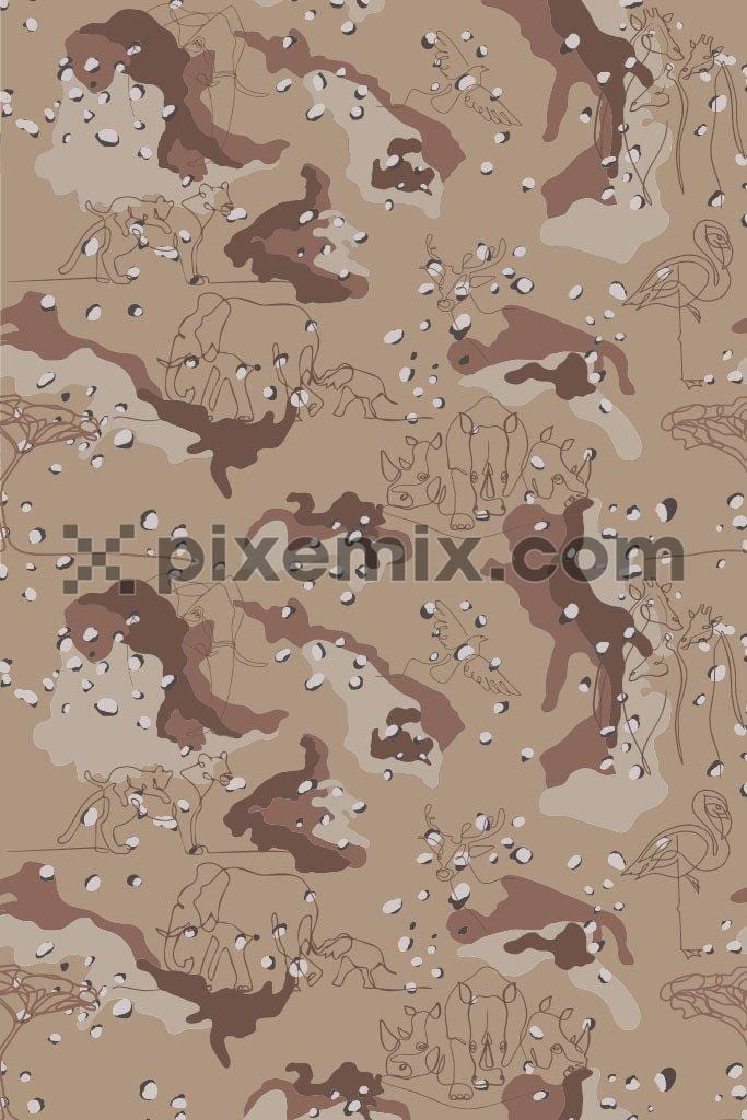 Wild life abstract camouflage vector pattern product graphic