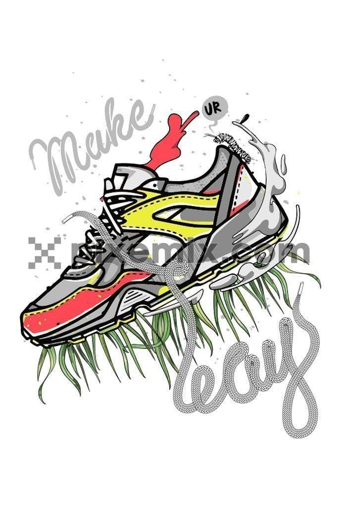 Sneaker with grass leays typography vector product graphic