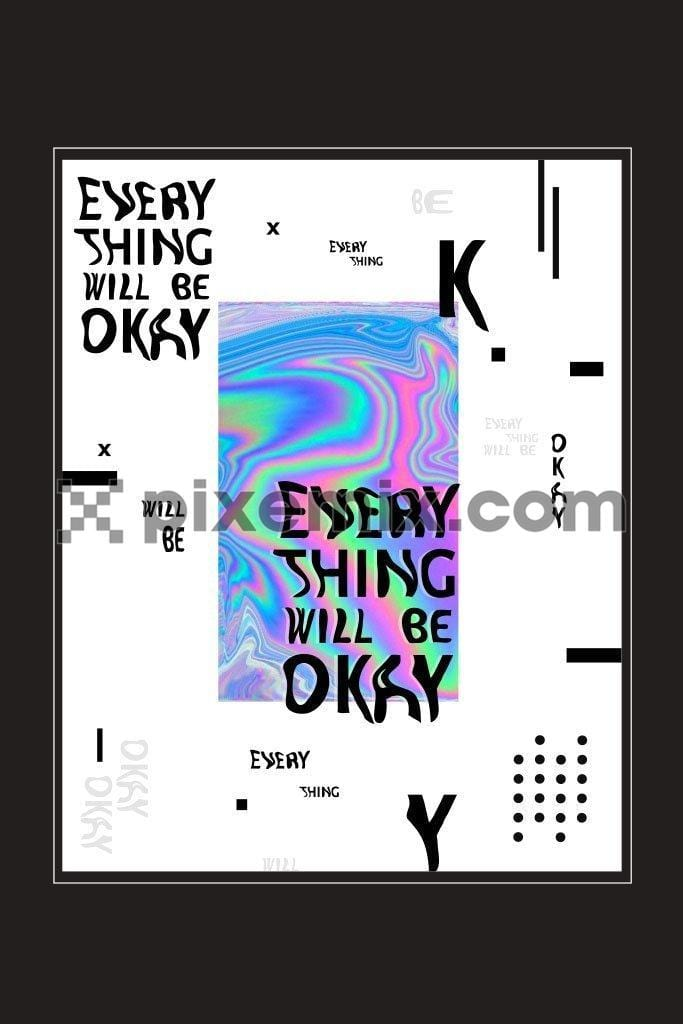 Inspirational typography with holographic print vector product graphic