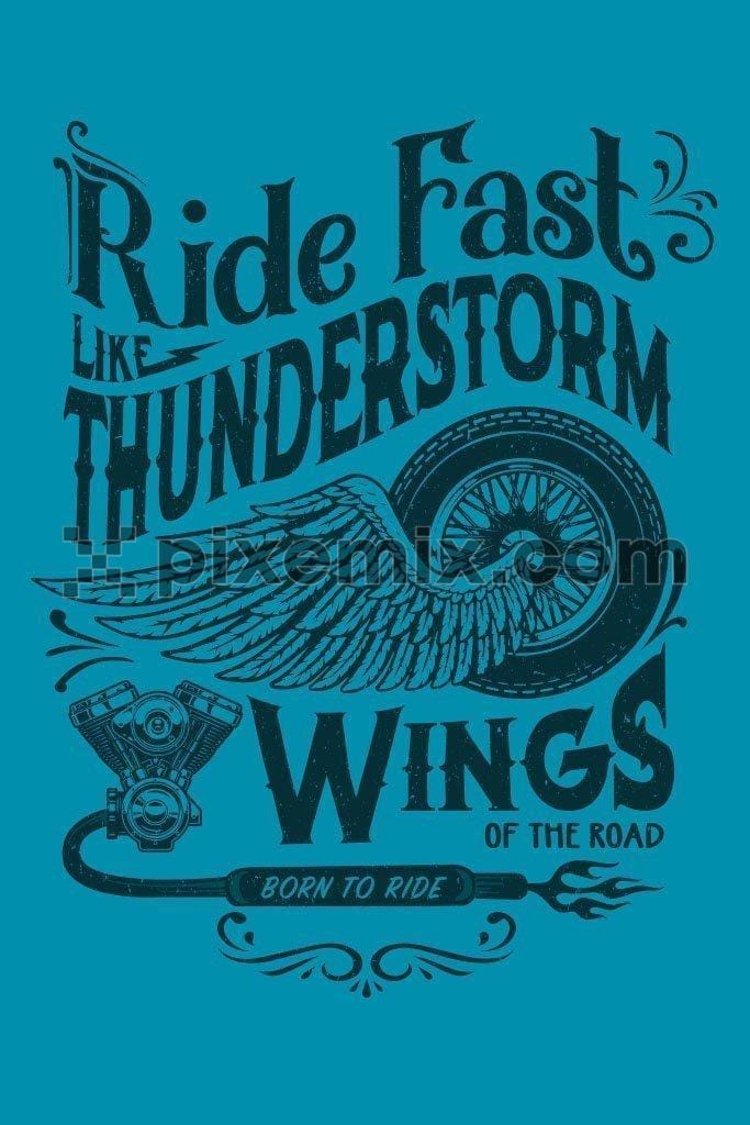 Wings of the road motorcycling vector product graphic