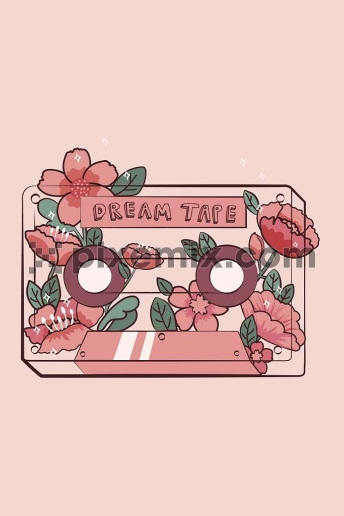 Floral dream tape vector product graphic