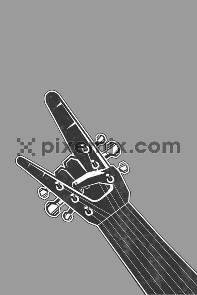 Yo guitar vector product graphic with distress effect