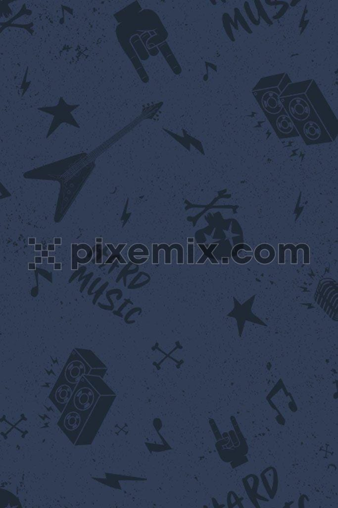 Monochrome music vector icon product graphic with distress effect