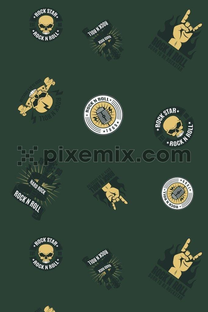 Rock and roll music vector icon product graphic
