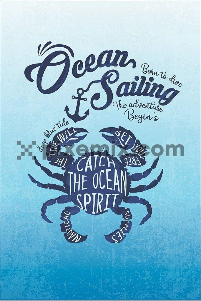 Nautical inspired crab vector product graphic with typography play