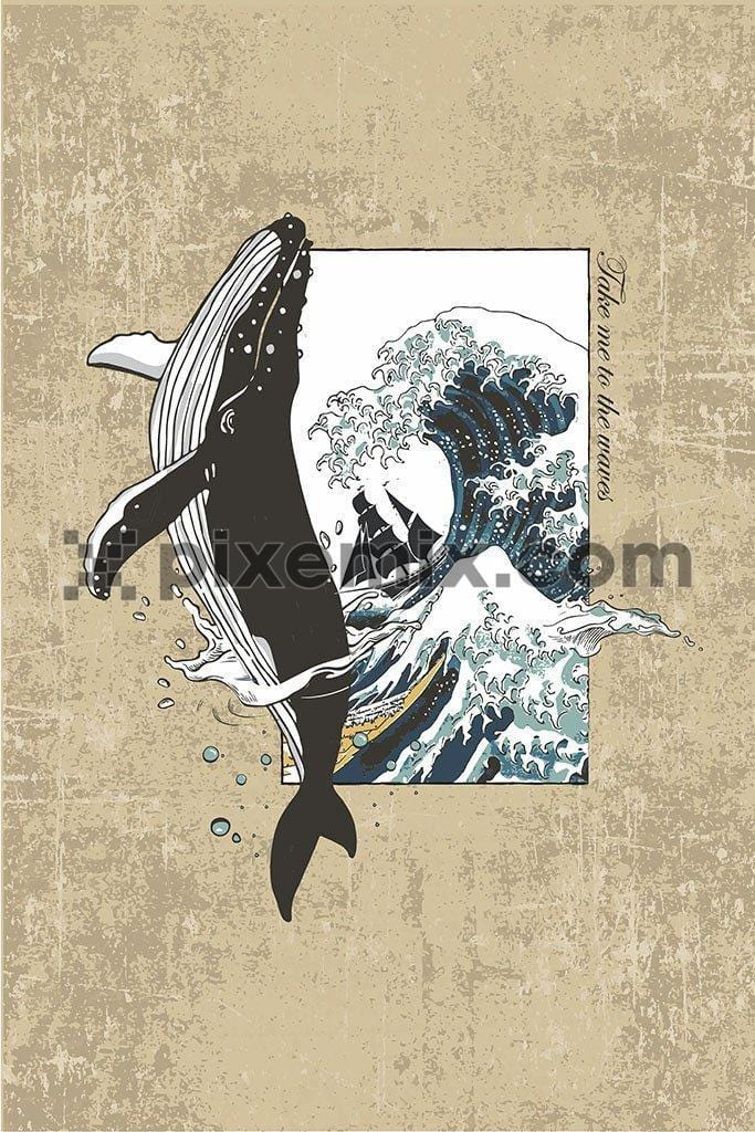Nautical whale vector product graphic