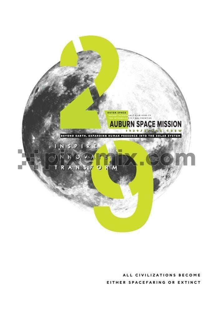 Space mission vector product graphic with typography play