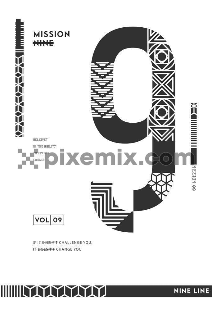 Double exposure number vector product graphic