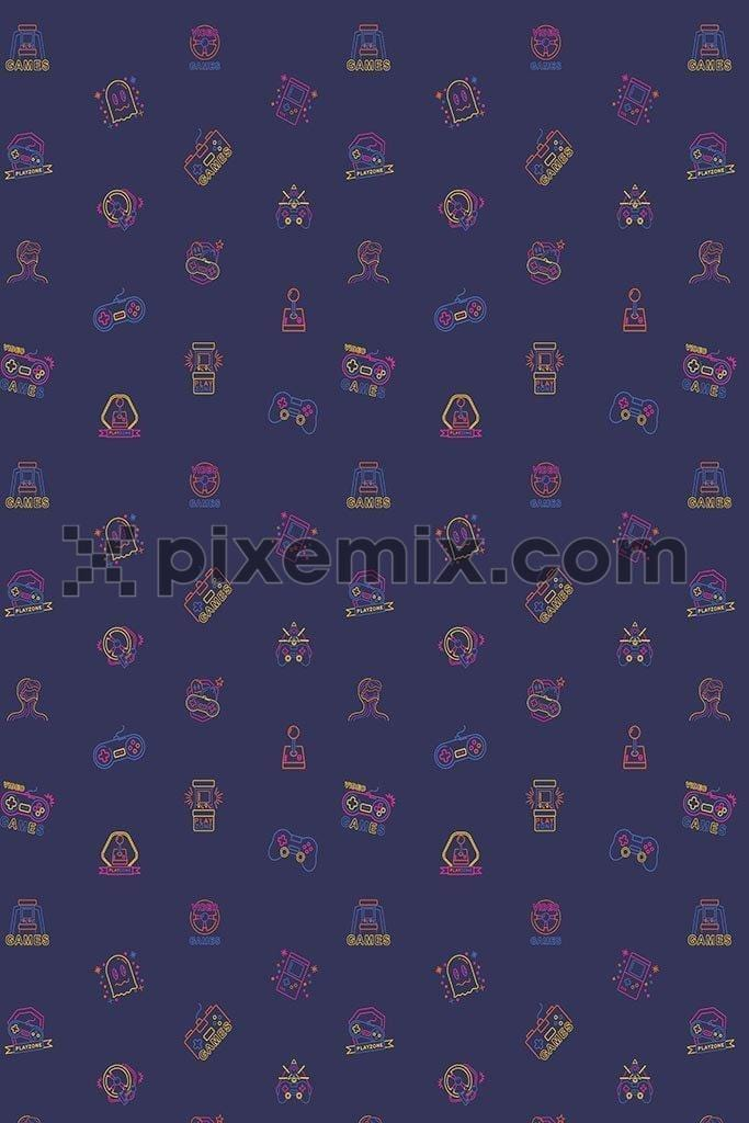 Retro gaming icon pattern vector product graphic