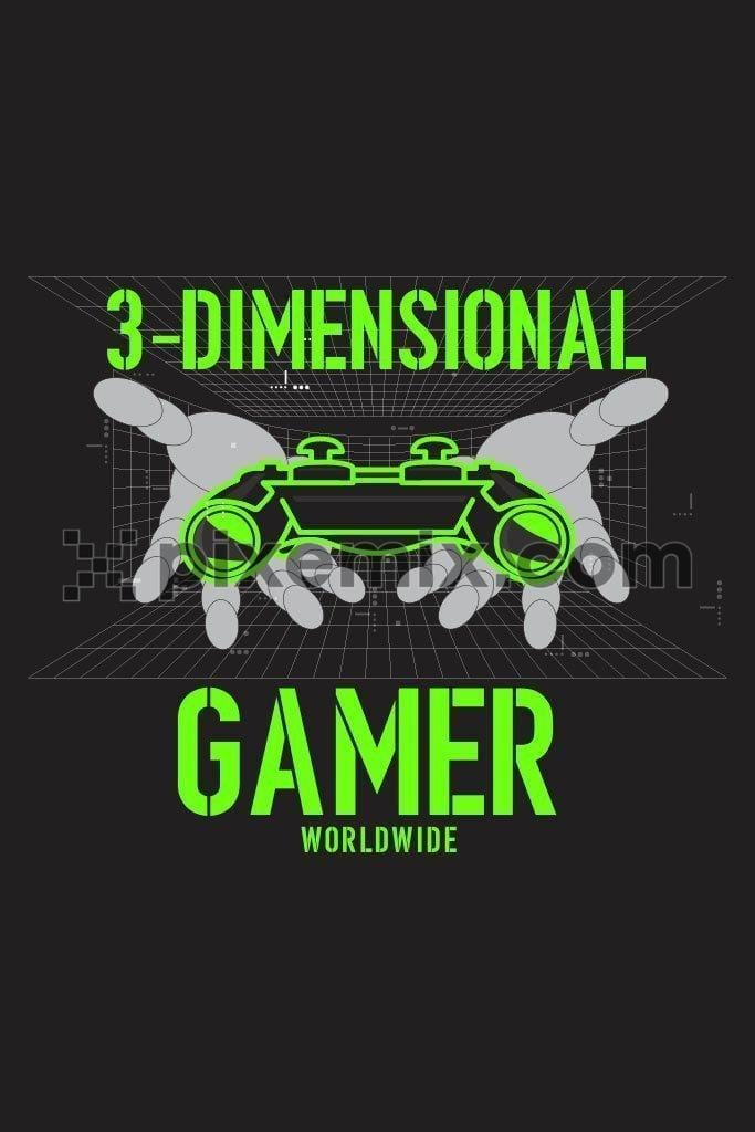 3 dimensional gamer vector product graphic