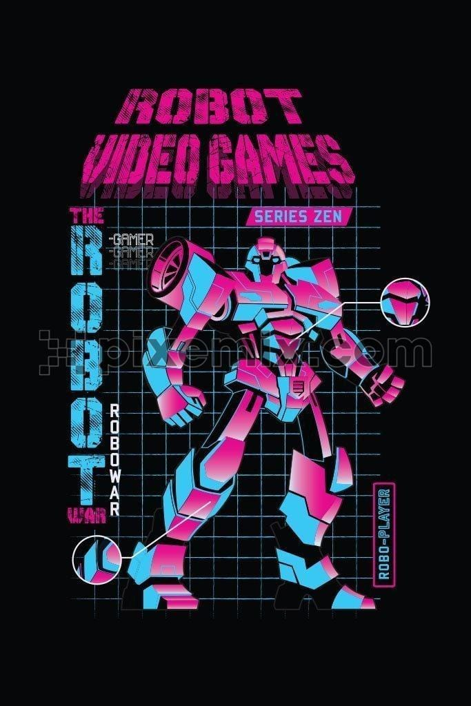 Robot video game vector product graphic with distress typography