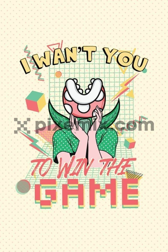 Retro flower monster game vector product graphic