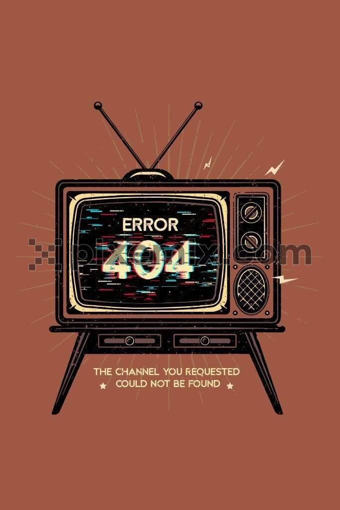 Retro network error television vector product graphic