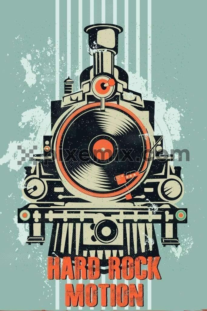 Retro rail engine with music record vector product graphic