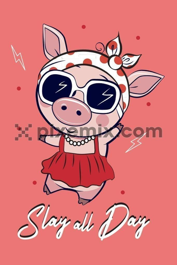 Cute piggy fashion star cartoon vector product graphic