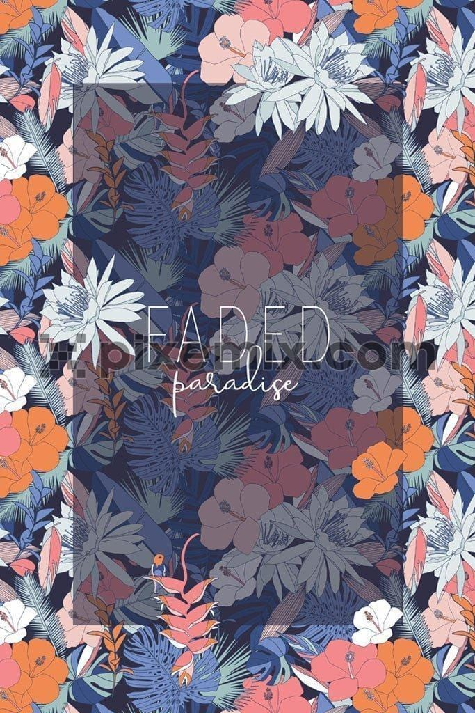 Tropical floral vector product graphic